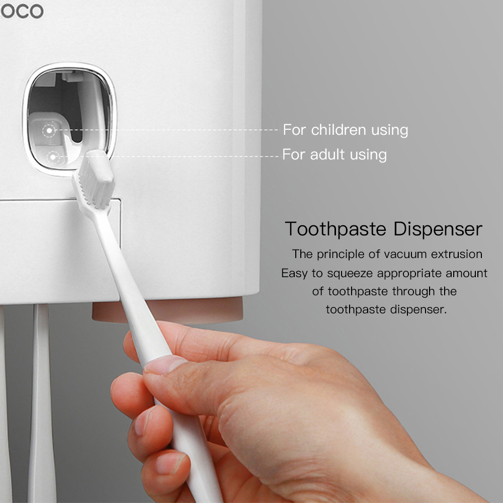 ECOCO Wall-mount Toothbrush Holder Auto Squeezing Toothpaste Dispenser Toothbrush Toothpaste Cup Storage Bathroom Accessories