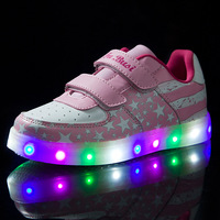 New Spring and Autumn Children Sports Shoes Boys and Girls Led Star USB Rechargeable Shoes Luminous Children Shoes YXX