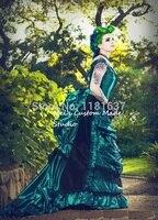 Зеленый Черный Готический стимпанк викторианской суеты воспроизведение 3pce комплект кино театр и свадебное платье на шнуровке период плать