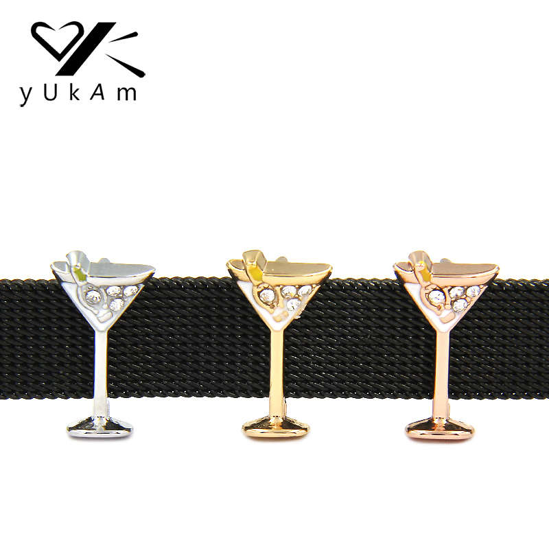 YUKAM Jewelry Rhinestone Wine Glass Martini Glass Charms Keeper for Stainless Steel Mesh Keeper Bracelets DIY Accessories Making