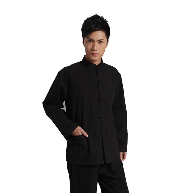 6fc7397826 Long Sleeve 100%Cotton Traditional Chinese Clothes Tang Suit Top Kung Fu  Tai Chi Uniform Spring Autumn Shirt Blouse Coat for Men