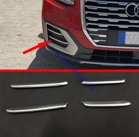 4pcs Matte Silver For Audi Q2 2018 2019 Car Styling Front Fog Light Lamp Molding Strip Cover Trim Accessories ABS Chrome