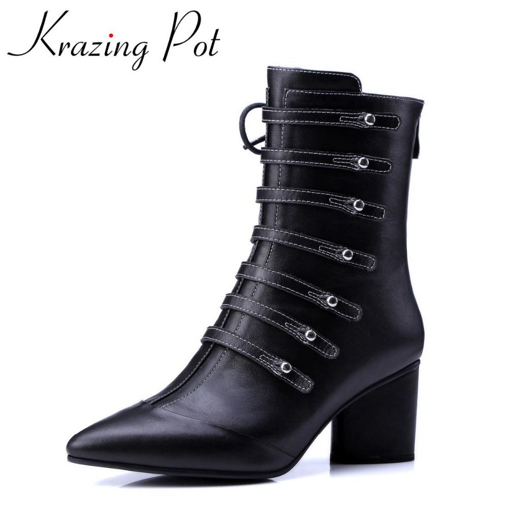 Krazing Pot fashion genuine leather pointed toe winter boots high heel  runway rivets classic superstar women mid-calf boots L66 plus size 2016 new fashion genuine leather formal brand man mid calf boots men s winter pointed toe rivets cowboy shoes fpt451