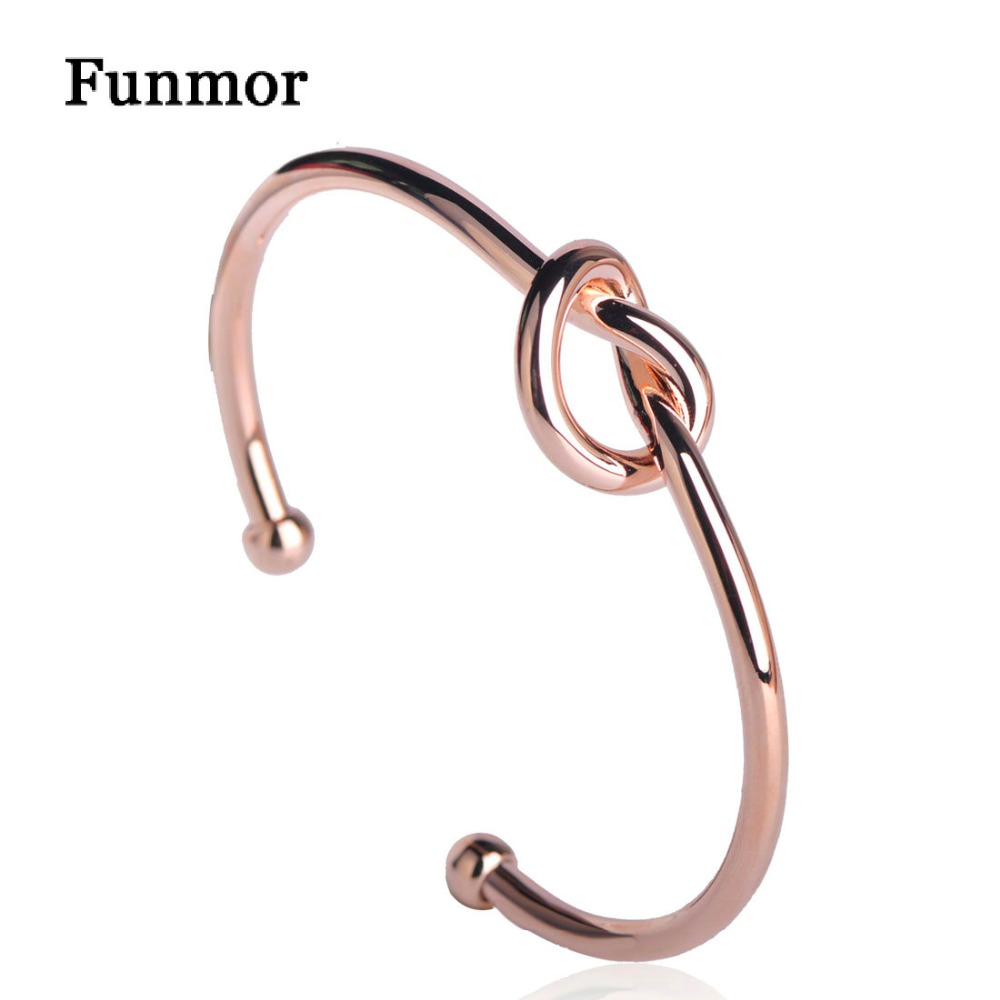 Rose Gold Armband Us 6 39 35 Off Funmor Simple Style Knot Cuff Love Bangles Manchette Copper Casting Rose Gold Color Bracelets Women Men Arm Jewelry Armband Goud In