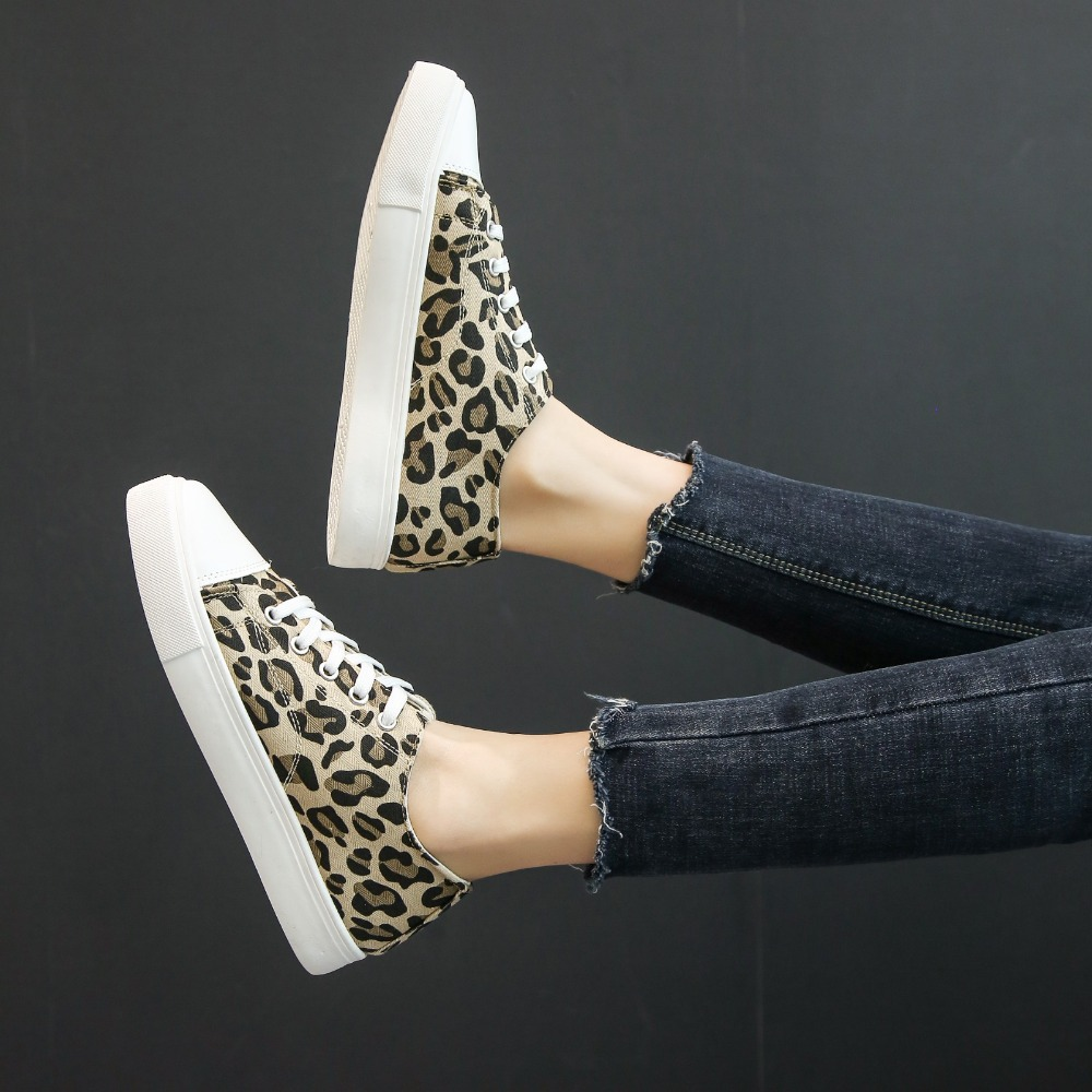 HKJL Hot style leopard print canvas shoes for female students 2019 new style retro all matching flat bottom shoes A139 in Women 39 s Flats from Shoes