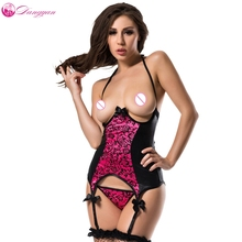 DangYan Rosy And Black Plus Size Leather Halter Open bra sexy teddy erotic latex costumes sexy lingerie sex product