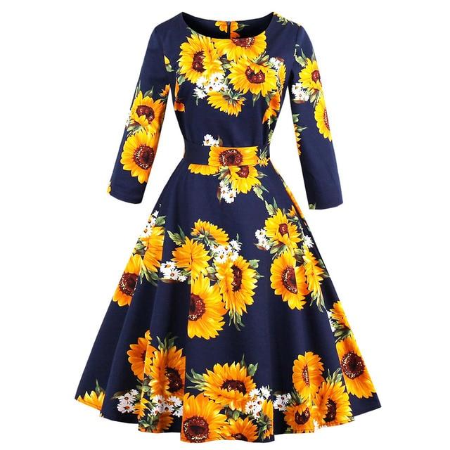 91539a77618 Kenancy Plus Size Women 1960 s Audrey Hepburn Vintage Dress Long Sleeves  Belts Sunflower Print Swing Vestidos