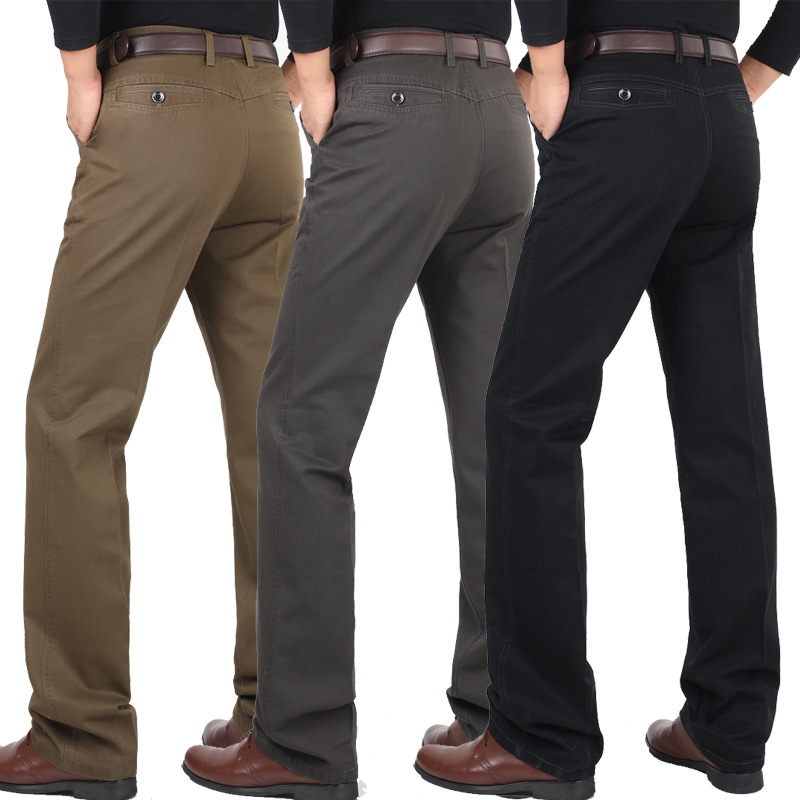 Solid Casual Pants Men Loose Trousers Spring Autumn Cotton Middle-aged Business Straight Long Trousers Flat Dress Pants Male
