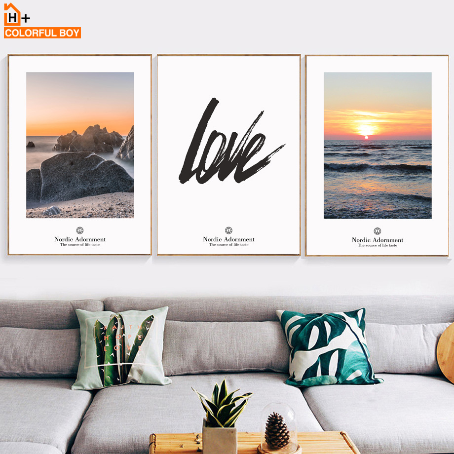 COLORFULBOY Sunburst Cost Landscape Nordic Posters And Prints Wall ...