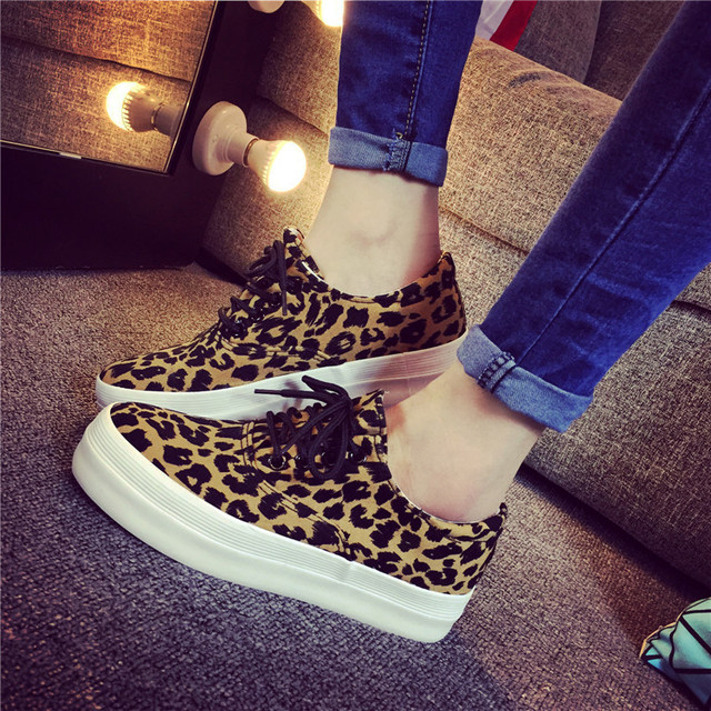 df0048ff2d80 2015 Spring and autumn canvas sneakers print platform female leopard shoes  zapatos plataforma free run lace shoes women