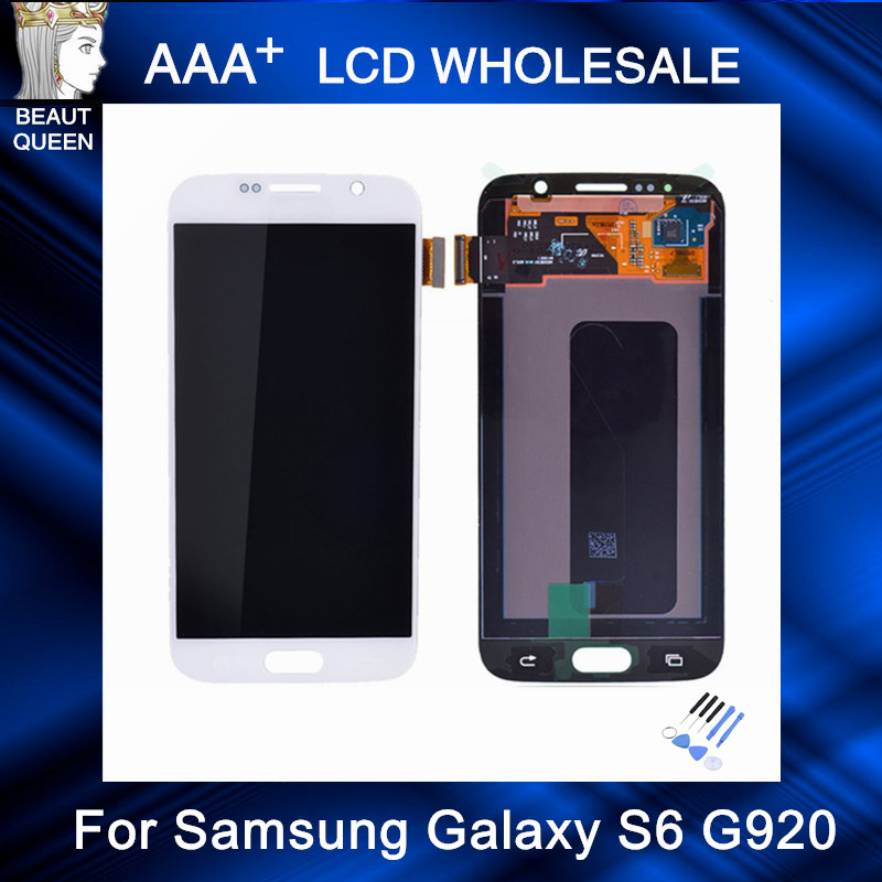 For Samsung Galaxy S6 G920 LCD Display in White Dark Blue with font b Touch b