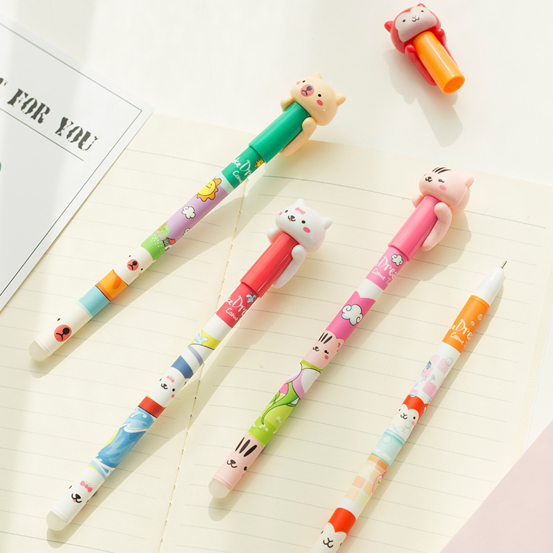 Coloffice kawaii stationery Small animal blue ink Magic Hardcover sign pen Hot cute eraseable pen school office supplies 1piece