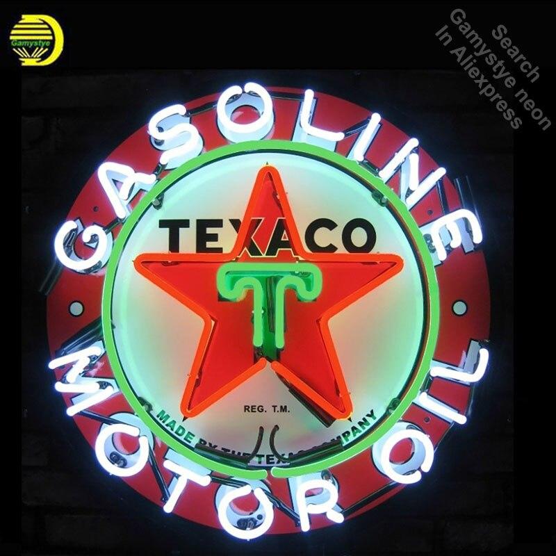 SINAL de NÉON Para Petróleo e Gás Gasolina Texaco VIDRO REAL BEER BAR PUB Clube Restaurante exibição Tabuleta Loja Luz Impressão placa