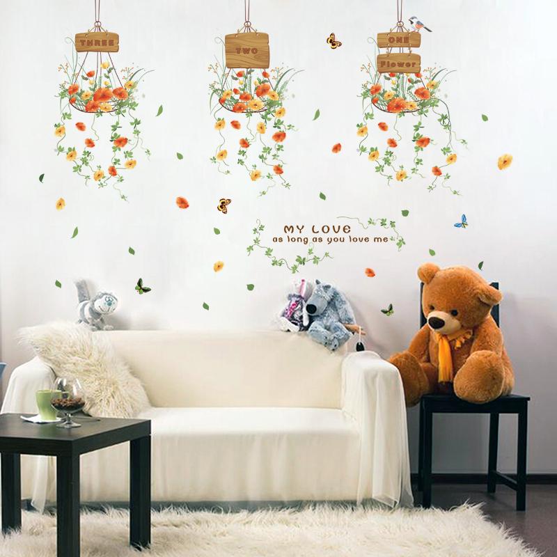 Bunte Blumentopf Blume Schmetterling Pflanzen Wandaufkleber Dekoration Fr Haus Wohnzimmer Kleiderschrank Schrank Decor PVC Decals