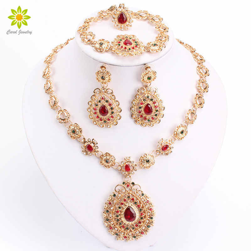 Bridal Jewelry Sets High Quality Gold Color Jewelry Set Trendy Necklace Earrings Bracelet Set For Women Dubai Jewelry Set