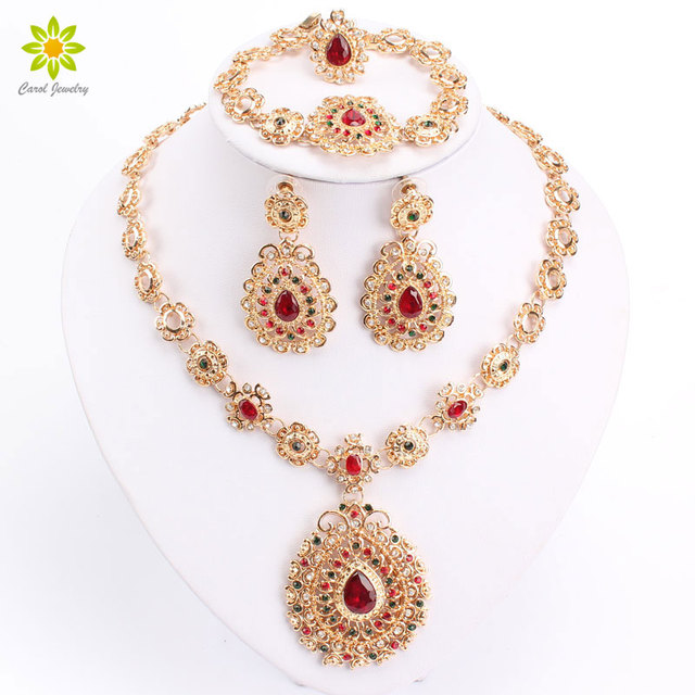 Bridal Jewelry Sets High Quality Gold Color Jewelry Set Trendy Necklace Earrings