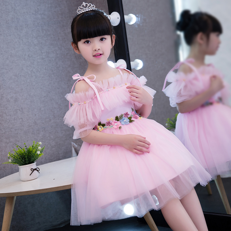 2017new Korean Sweet Fashion Baby Princess Pink Dress Children S Party Costume Shoulderless Dresses Wedding Clothing