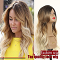 Ombre two tone color Hair Lace Front Wig  Body Wave Blonde Hair Heat Resistant Synthetic Lace Wig For Black Women Free Shipping