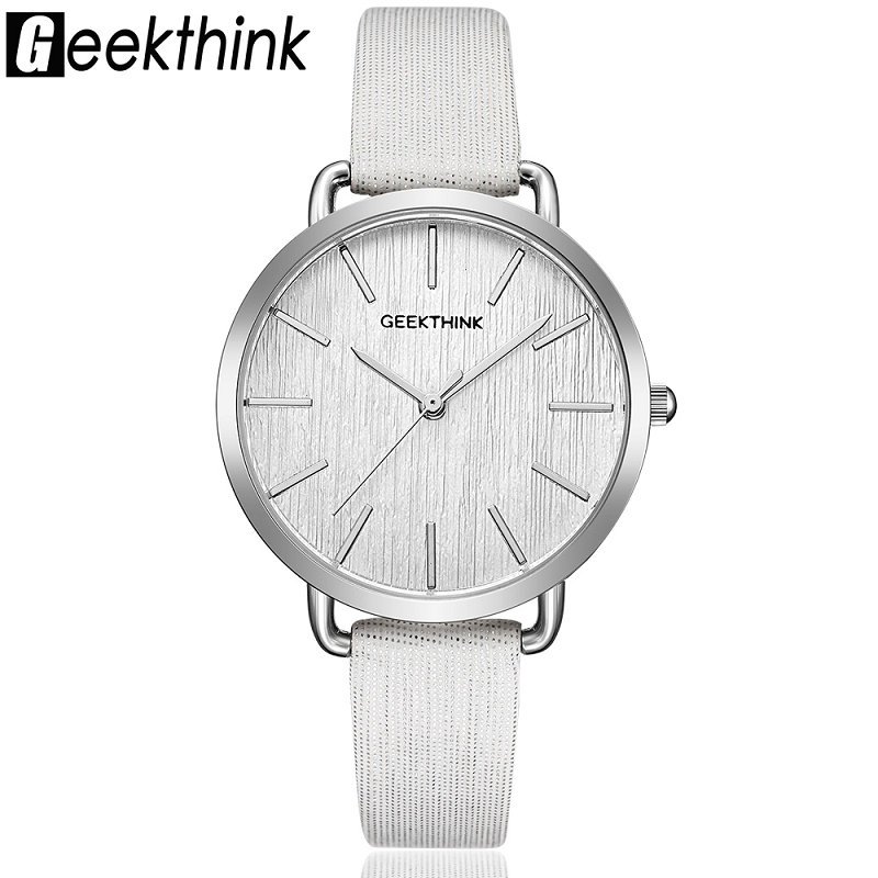 цены Geekthink Top Brand Quartz Watch Woman Fashion Casual Ladies Leather Strap Wristwatch Clock Female New Simple Desginer Gift girl