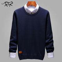 Повседневный осенний свитер мужской классический чистый пуловер мужской однотонный с круглым вырезом Pull Homme тонкий прилегающий вязаный ка...