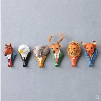 Hanging crafts, creative animal head hooks, deer, elephant, cow, lion, orangutan, horse, eagle