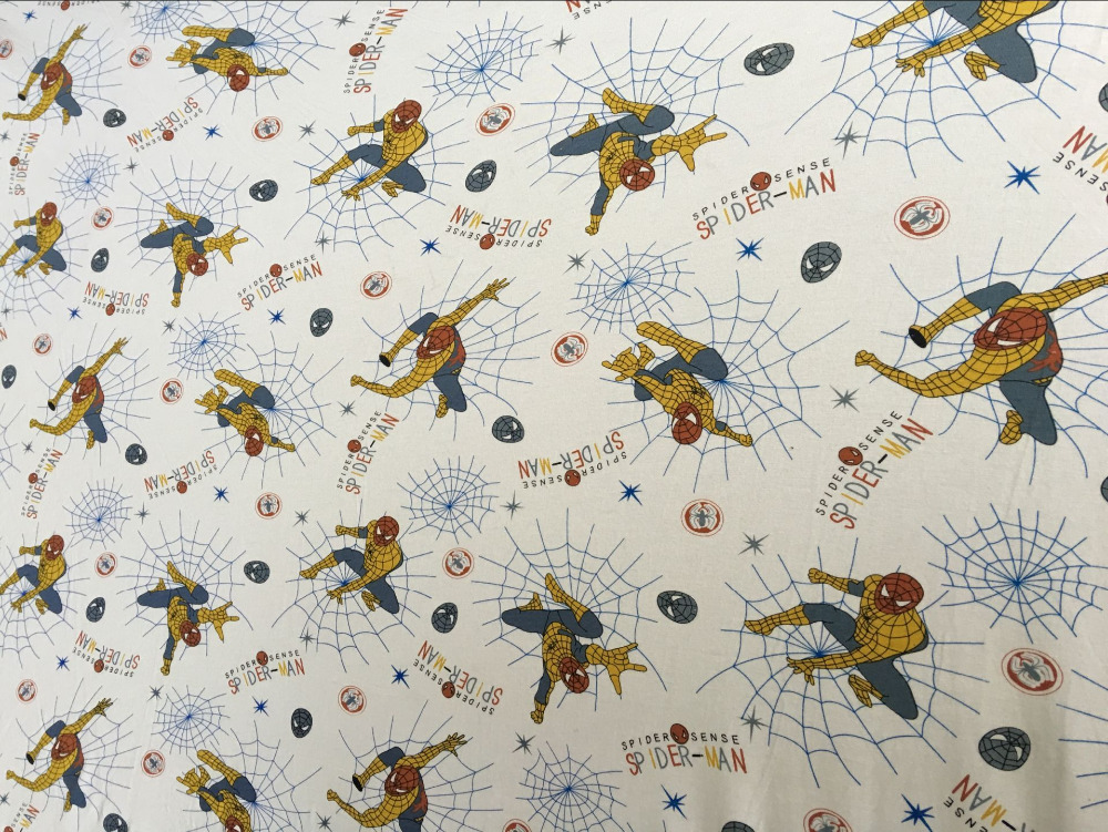 Spiderman Lycra cotton fabrics soft knit style Patchwork DIY Children's clothing material dress Sewing Textile T-shirt