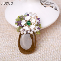 Genuine New Fashion Unisex Large designer cup Amethyst handmade natural freshwater pearl brooch can be used as a pendant