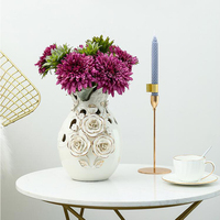 European vase decoration living room decoration vase ceramic vase marriage housewarming gift gold rose vase