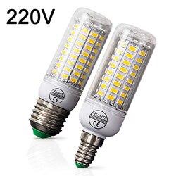 E27 LED لمبة E14 LED مصباح 220V لمبة ذرة الدافئة الأبيض الباردة الأبيض 24 36 48 56 69 72 المصابيح للمنزل الحديثة غرفة المعيشة مصباح ليد
