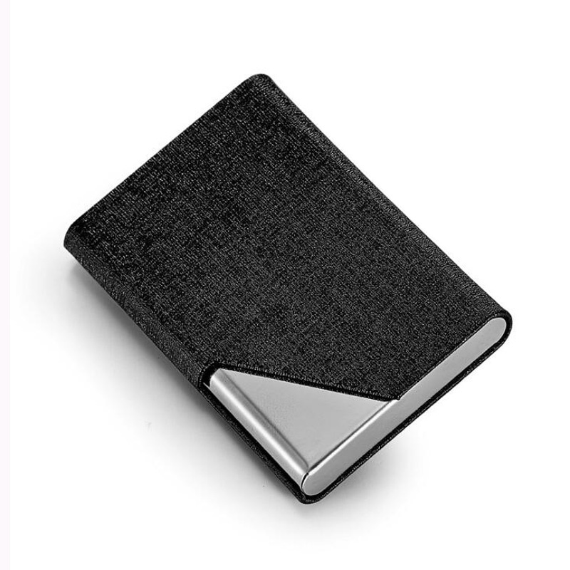 Fashion Unisex Metal With Leather Business Card Holder Men's Credit Card Case ID Card Wallet With Magnet Bag For Women
