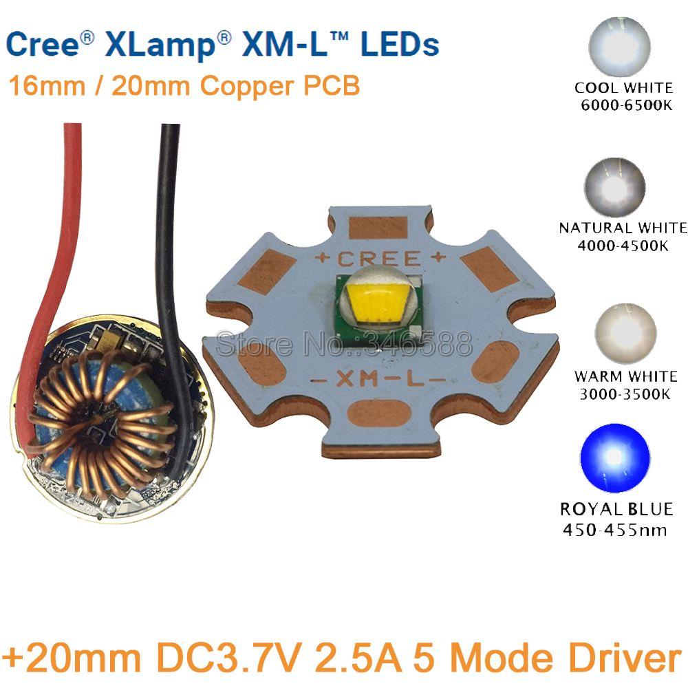 CREE XML XM-L T6 10W Cool White Neutral White Warm White High Power LED Emitter 20mm Copper PCB +20mm 12V Input 5 Modes Driver cree xlamp 100w xm l xml t6 6000k white warm white 3500k dc 30v 36v high power led lighting for diy house street illumination