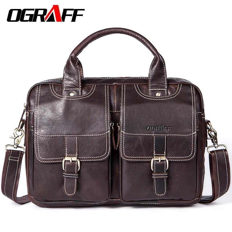 OGRAFF Men Bag Handbags Genuine Leather Bags Men Briefcase Designer Men Crossbody Messenger Shouder Bag Leather