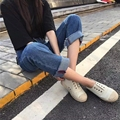 2017 Новая Мода Стиль Женщина Красный Край Turnup Джинсы Широкий