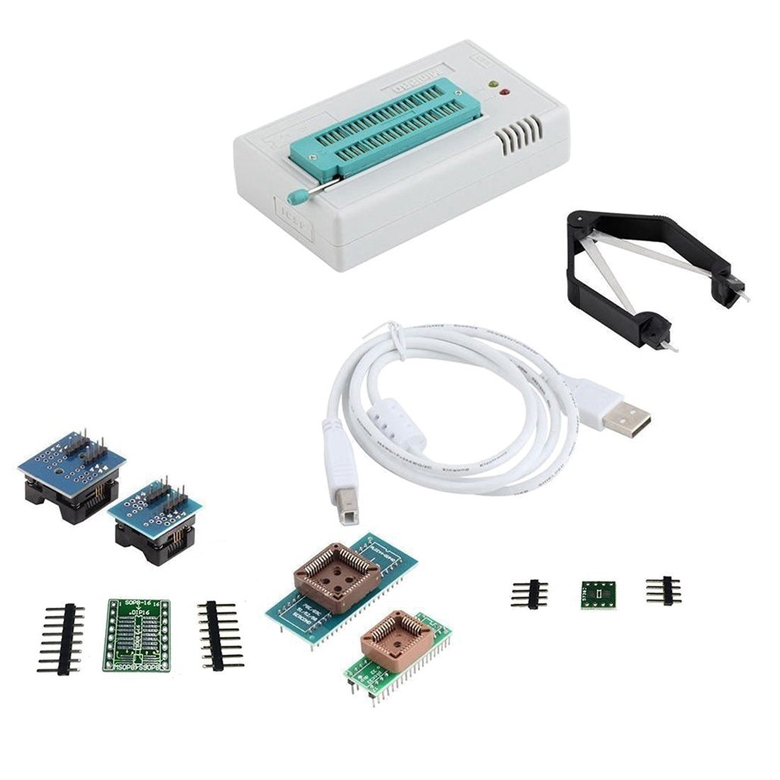 TL866CS Programmer USB EPROM FLASH BIOS Programmable Logic Circuits 6 Adapters Socket Extractor for 13000 IC usb tl866cs programmer eprom spi flash avr gal pic 9pcs adapters test clip 25 spi flash support in circuit programming adapter