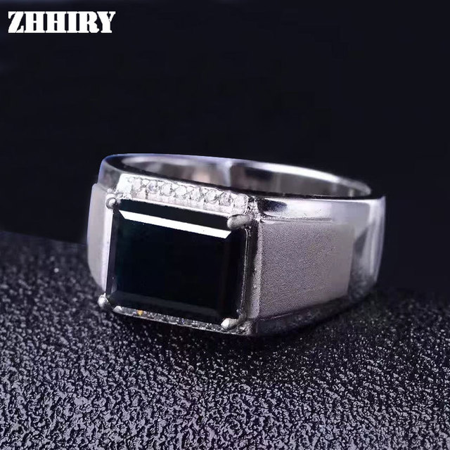 Men and women natural sapphire stone ring Genuine solid 925 sterling silver Man gem jewelry rings