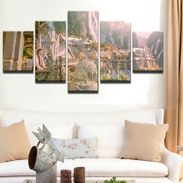Attrayant Wall Art Canvas Painting Home Decor HD Prints 5 Pieces Lord Of The Rings  Frame Poster