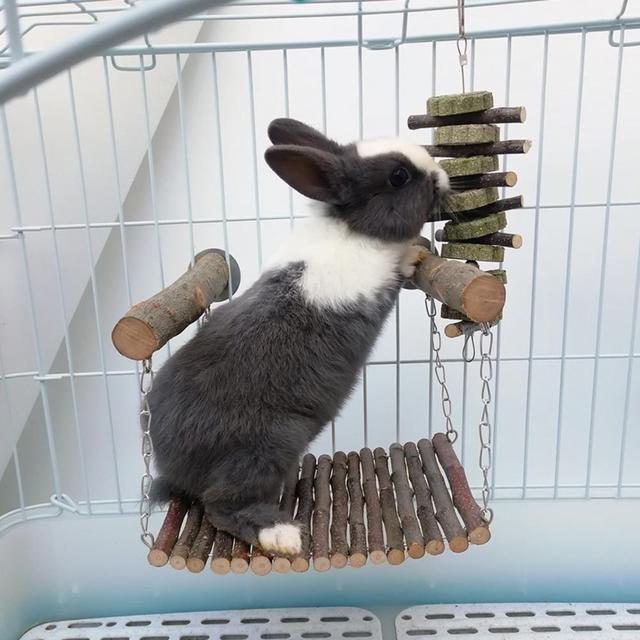Rabbit Hamster Hammock Wooden Branch Hamster Rabbit Bed Chinchilla Swing Squirrel Guinea Pig Pedal Small Pet Toy Molar Supplies 1