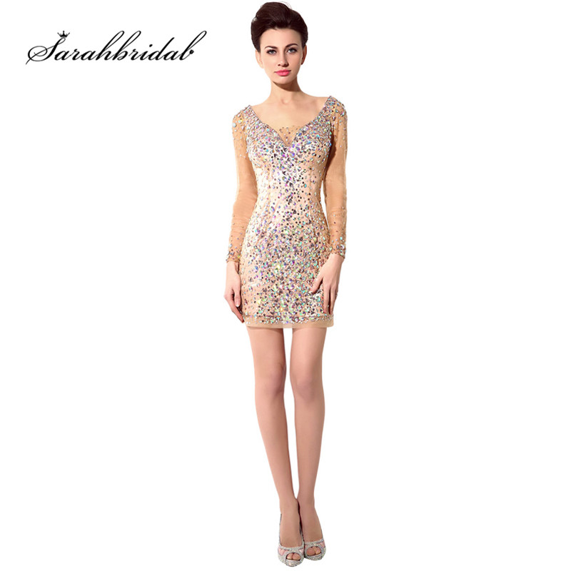 Sexy Mini Celebrity Dresses Gold Sparkle Backless Long Sleeves Sheath V Neck beaded Cocktail Gowns Hollow Sequins In Stock SY006