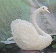 new white simulation swan toy Foam and feathers swan model gift about 58x65cm