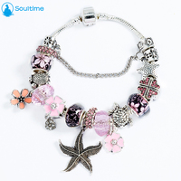 SOULTIME Brand Summer Starfish Pendant Silver Charm Bracelets For Women Pink Cherry Glass Beads Bracelets Bangles
