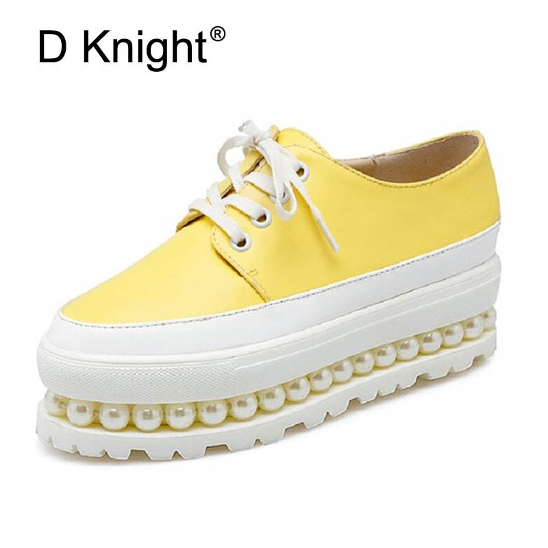 Women Oxfords Fashion Color Block Women Flat Platform Shoes Ladies Casual String Bead Flats Shoes Woman Plus Size 32-43 Creepers plus size 34 43 new platform flat shoes woman spring summer sweet casual women flats bowtie ladies party wedding shoes