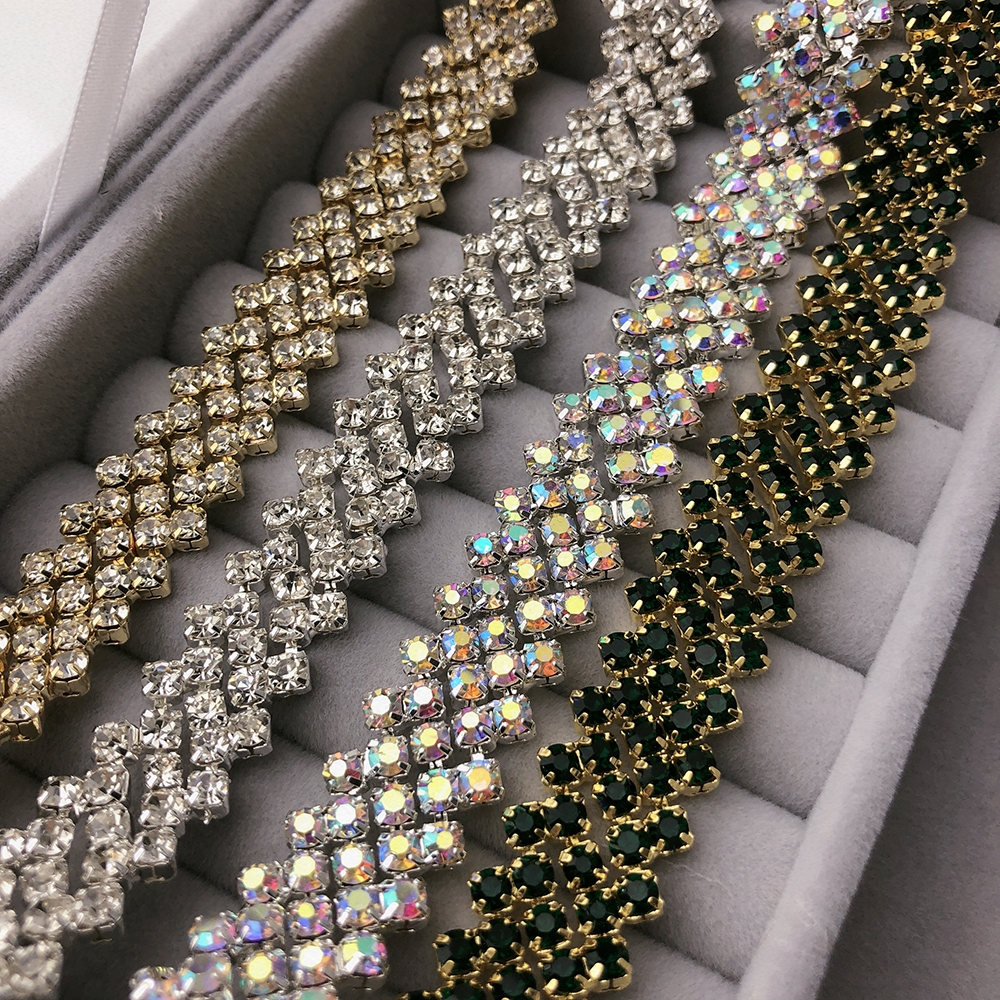 Rhinestone for Sewing Decoration Craft Fashion-Champagne Gold Base Rhinestone Chain,Rhinestone Crystals AB Chain Trimming-Rhinestone Chain for Jewelry Making,Citrine Rhinestone Chain SS16