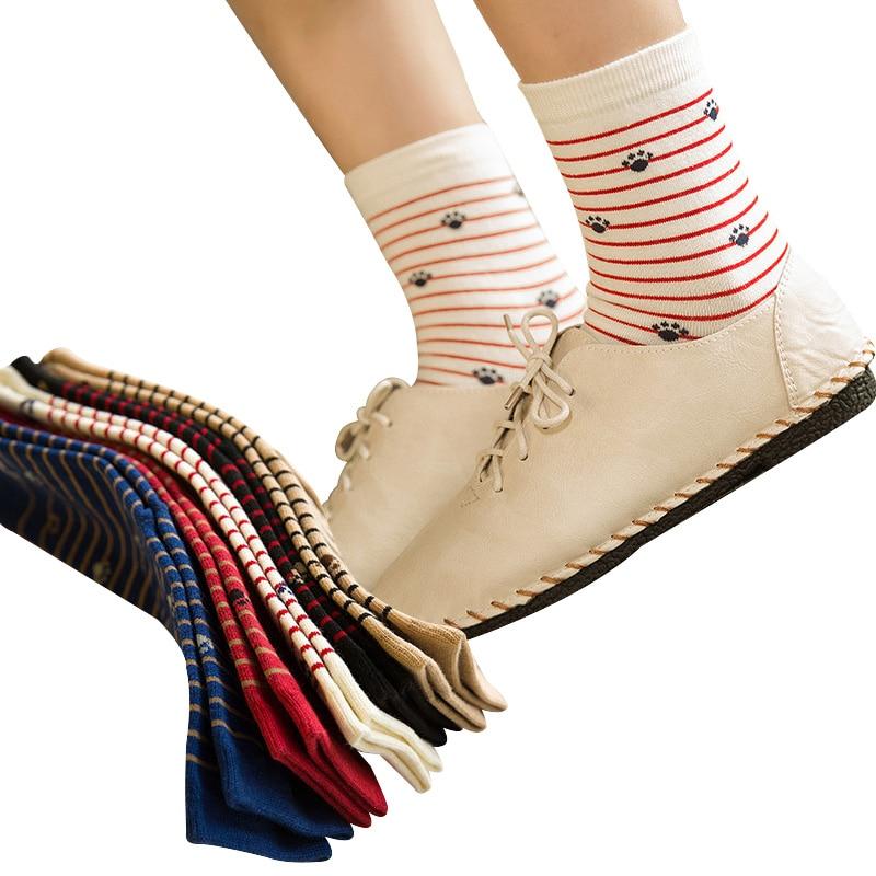 4145bdfa6 5 Pairs Women Socks Cute Cartoon Animal Print Cat Footprint Girls  Ankle-High Winter Cotton