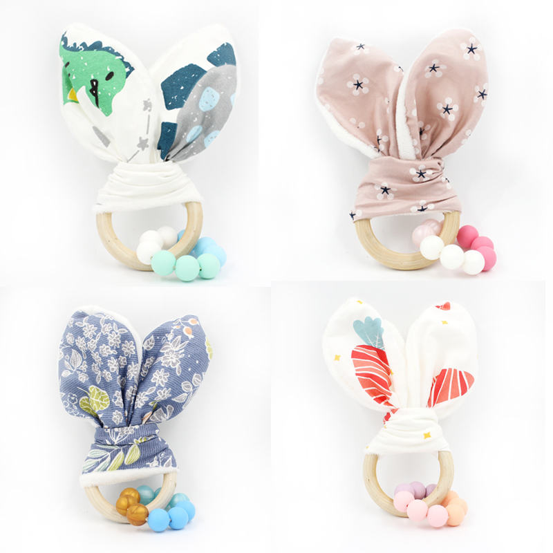 4pc Wood Teether Toy For Baby Cotton Bunny Ear Souding Musical Silicone Teether Appease Toy Teething Silicone Crib Mobile T0279