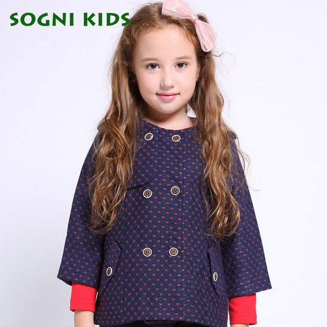 SOGNI KIDS Girls Wool Coat New Winter Brand Thicken Short Jacket Fashion Floral Pattern Three Quarter Sleeve Girls Warm  Parka