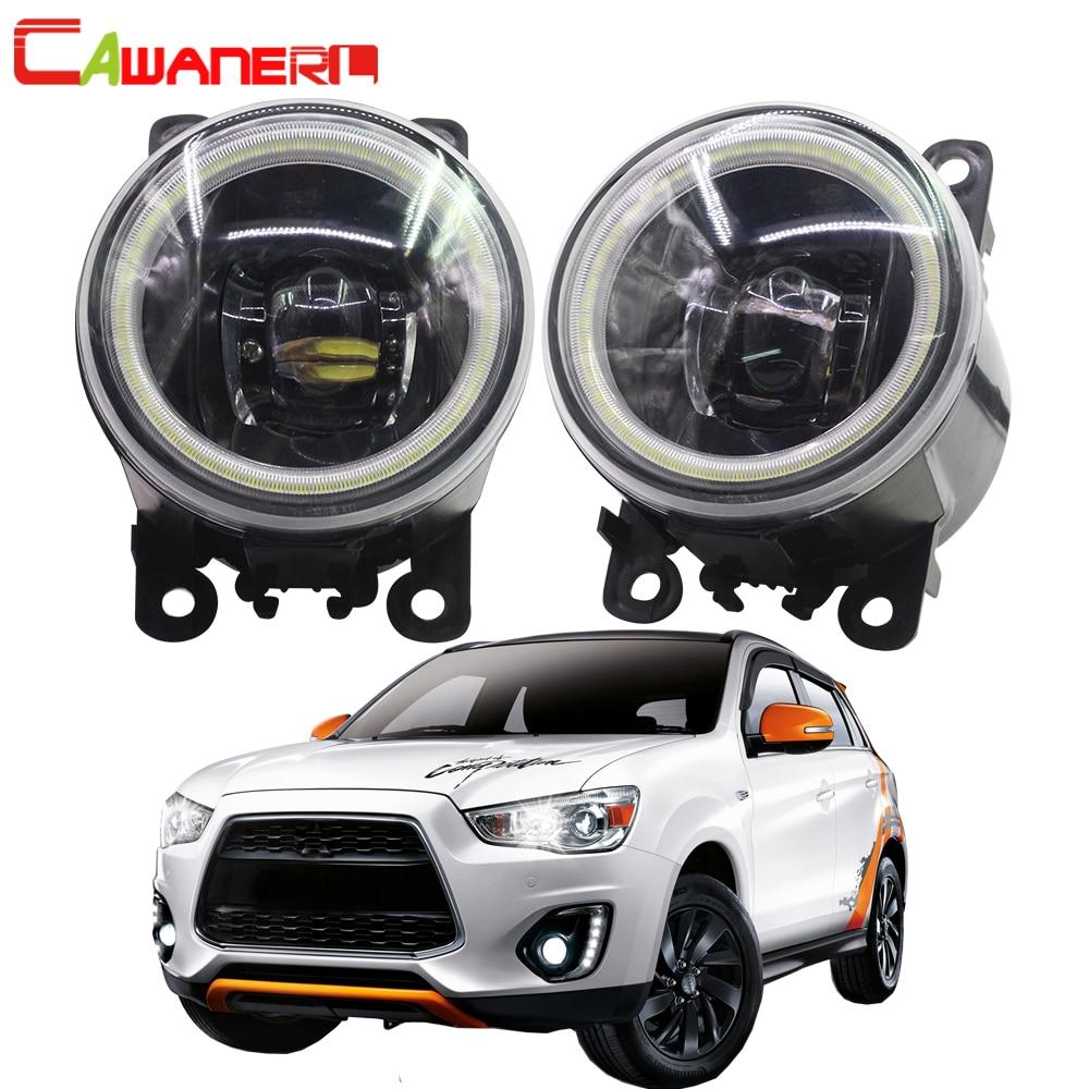 Cawanerl For Mitsubishi ASX 2013 2014 Car 4000LM LED Lamp H11 Fog Light Angel Eye DRL