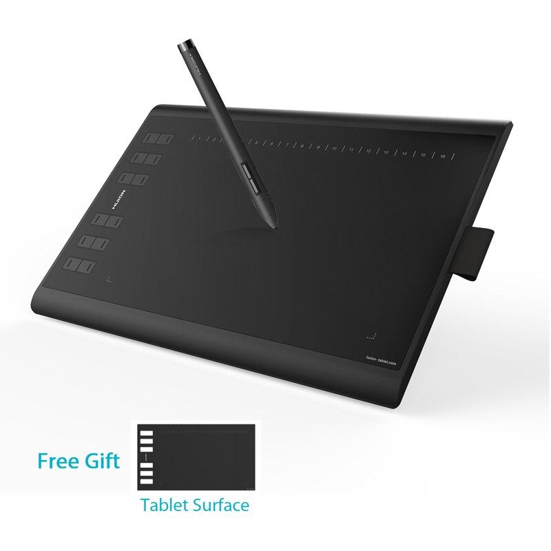 HUION nuevo 1060 más 10x6,25 pulgadas tableta gráfica dibujo tableta de lápiz Digital con 8192 niveles 8 GB SD tarjeta y película libre