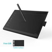HUION nuovo 1060 Plus 10x6.25 pollici tavoletta grafica tavoletta digitale con penna con scheda SD da 8 GB a 8192 livelli e pellicola gratuita