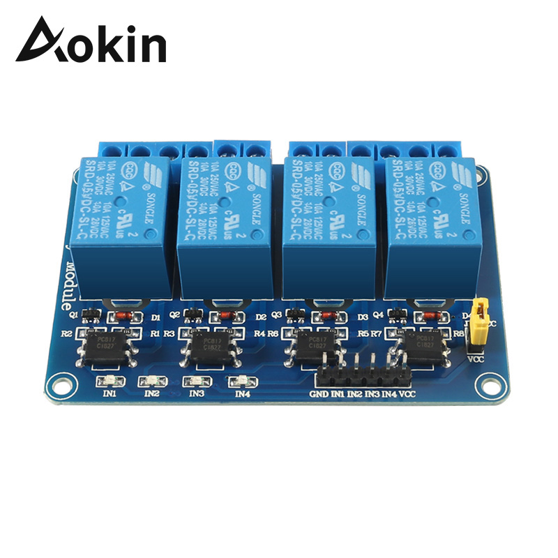Aokin 1 2 4 Channel DC 5V Relay Module With Optocoupler Low Level Trigger Expansion Board For Arduino