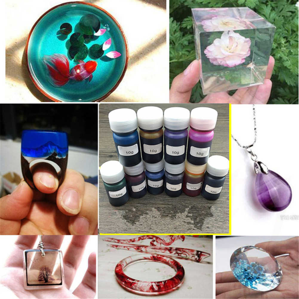 10 cores 10g cola epoxy uv resina corante resina pigmento mistura cor diy artesanato artesanal de secagem rápida não-tóxico artesanato